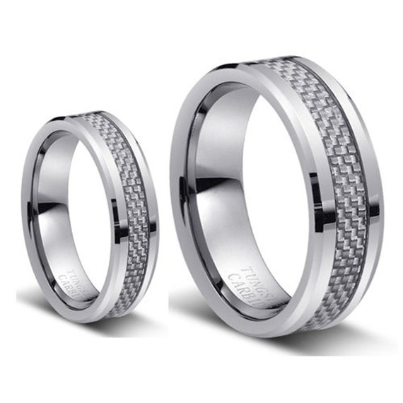 Tungsten Wedding BandWedding Band Set by JewelrySquare on Etsy