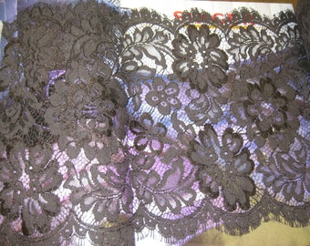 "1 yards 9 1/2"" width double side scalloped non stretch brown  lace trim for your fashion or lingerie design"