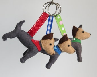 Hand sewn Yorkshire Terrier felt keyrings