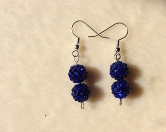 Dark Blue Earrings, Blue Earrings, Blue Drop Earrings, Blue Jewellery, Blue Sparkly Earrings, Blue Bead Jewellery, Sparkly Earrings