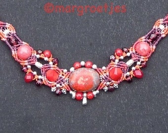 Hot red playful macramé necklace with natural stone beads and sterling silver.