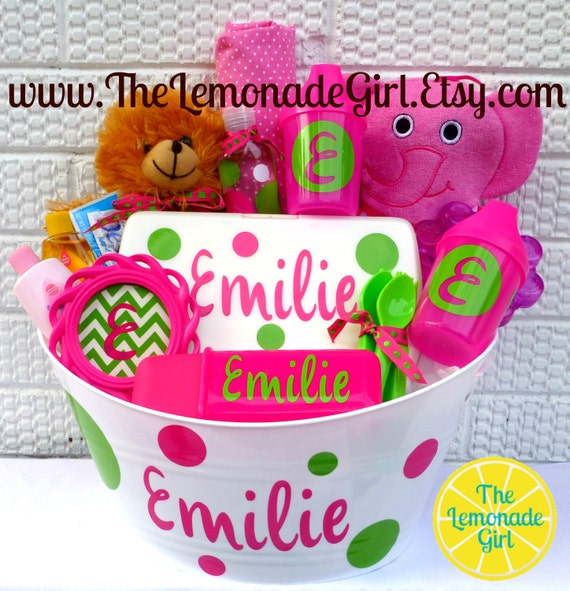 personalized baby basket baby shower gift baby girl gift chevron