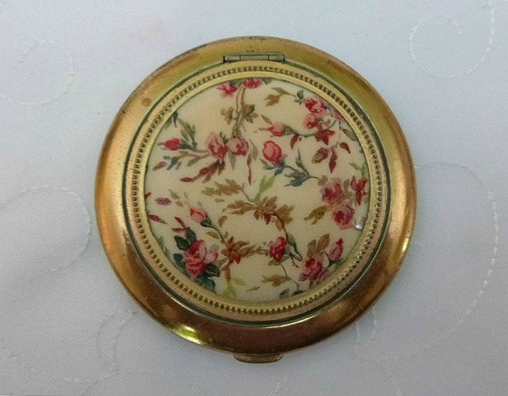 50s Floral Powder Compact Vintage Shabby Chic Roses Lin Bren