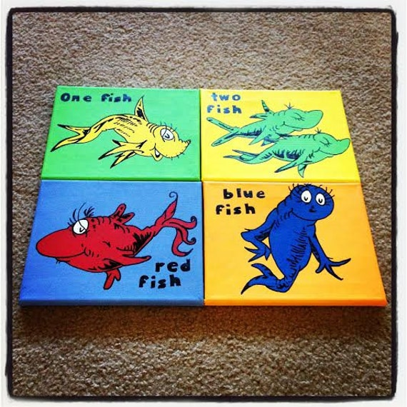 Items similar to on sale dr seuss hand painted canvases for Doctor fish for sale