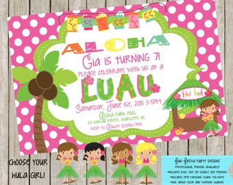 LUAU party invitation and matching thank you note