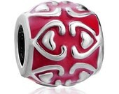 Clearance - Pugster Bead - Silver And Red Hearts -  Large Hole - Fits European