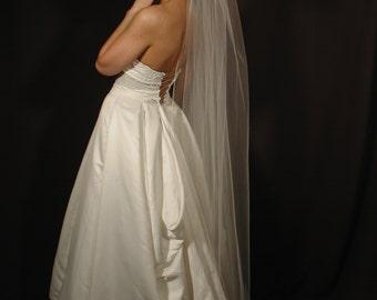 "75"" length Chapel wedding veils - 75"" long Chapel bridal veil. Ready to ship. pencil edging."