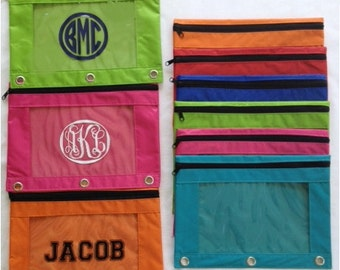 Personalized School Supplies - Personalized Pencil Pouch - Monogram Pencil Pouch for 3 Ring Binder - Kids Back to School