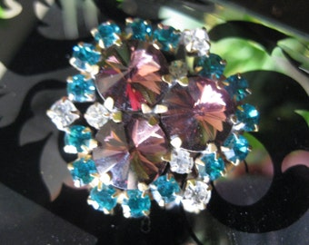 Plum and Turquoise Tillion in Czech Glass Crystal Button