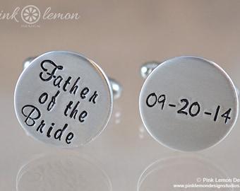 Father of the Bride Cufflink - Personalized Cuff Links - FOB Wedding Gift - Custom Cufflinks - Personalized Cufflinks by Pink Lemon Design
