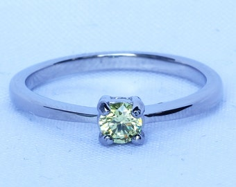 Peridot Solitaire engagement ring - in white gold or titanium - wedding ring - gemstone ring