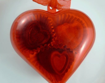 Handmade Chocolate Hearts in Heart-Shaped container