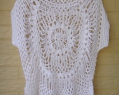 White Sheer Womens Blouses Crochet Top Boho Clothing Hairpin Crochet