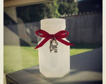 40 Wedding Bubble Bottles with Red Ribbon and silver love charm with heart