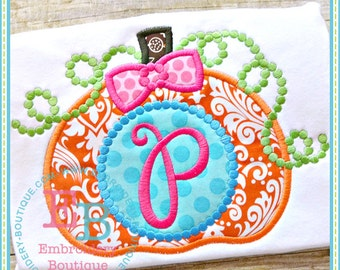 Dotted Monogram Pumpkin Applique - This design is to be used on an embroidery machine. Instant Download