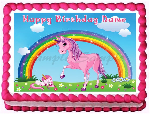 Vintage Rainbow Cake Decoration Edible : PINK UNICORN RAINBOW Edible image cake topper by ...