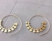 Medium Dotted Brass Spiral Earrings with Sterling Silver Hook