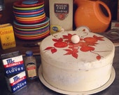Cute Vintage Cake Saver, Shabby Chic Cream Tin with Red Fruit and Leaves. Cream Wooden Knob.