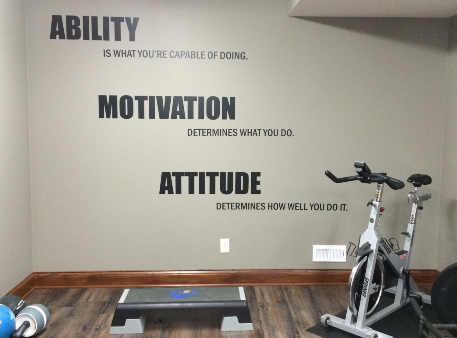 Graphic Quotes Wall Art   White Or Pool : Motivational quote gym wall decal ability motivation