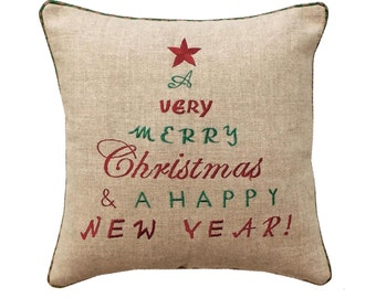 "Christmas linen pillow cover, chistmas and new year wishes, embroidered pillow size 16""X 16"""