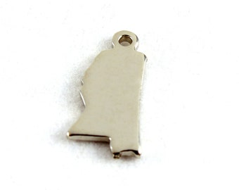 2x Silver Plated Blank Mississippi State Charms - M070-MS