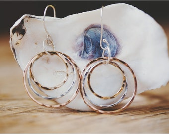 Circle tri color earrings
