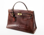 Authentic HERMES 32cm Shiny Miel CROCODILE Sellier Vintage Kelly BAG with Gold Hardware