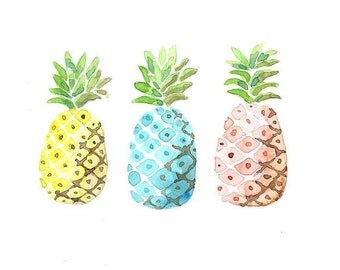 COLORED PINAPPLES yellow, blue, pink Original watercolor painting