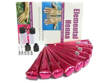Bridal Wedding Henna Mendhi Party Pack, 10 Henna Tattoo Pre-Mixed Paste Cones, Book, & Applicator Bottles