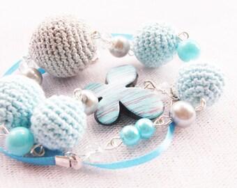 Light blue necklace. Crochet necklace. Handmade jewellery.