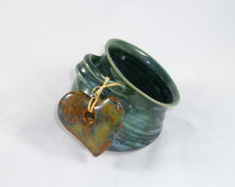 Salt Pig in Greeny Blue Glaze with Mottled Heart