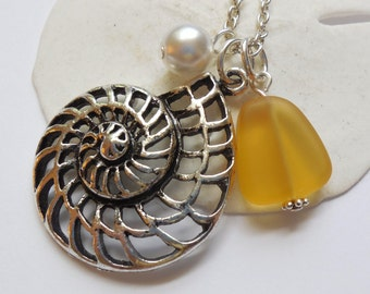 Yellow Sea Glass Necklace, Charm necklace, Pearl, Silver Nautilus, bridesmaid necklace, beach wedding.  FREE SHIPPING within the U.S.