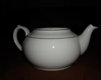 Vintage White & Gold Flat Top Teapot