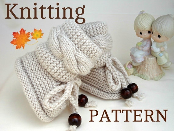 Sweaters Knitting Patterns : Knitting P A T T E R N Baby Booties Baby Shoes by Solnishko43