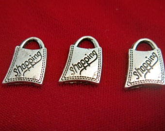 "8pc ""shopping bag"" charms in antique silver style (BC148)"