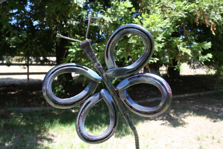 Horseshoe butterfly garden art yard art rail road spike