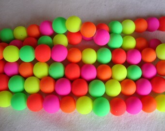 Beads, Neon beads, mix color, 10mm, glass beads, full strand 15 inch