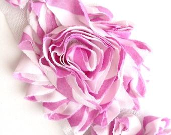 Shabby Rose Flower Trim--Lavender and White Stripes