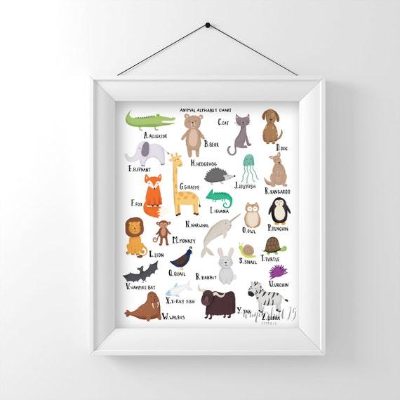 Animal Alphabet Chart A-Z,  art print, illustration, typography, animals, nursery art