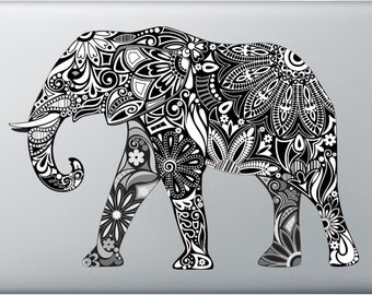 Carved elephant MacBook and windows laptop stickers, decals, computer Custom decals, removable decals, personalize your laptop