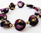 Purple Bracelet, Glass Beaded Bracelet, Stretch Bracelet, Purple Swirl Bracelet, Purple Stretch Bracelet