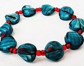 Turquoise Bracelet, Glass Beaded Bracelet, Stretch Bracelet, Turquoise Swirl Bracelet, Turquoise Stretch Bracelet, Turquoise Jewelry