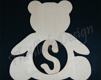 Teddy Bear wooden shape with Monogram Insert - Door Hanger, Home Decoration, Wreath