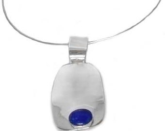 Lapis Lazuli and Sterling Silver Abstract Pendant with Slider