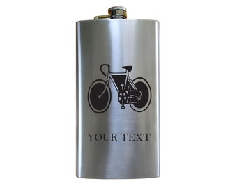Personalized Engraved bike, cyclist 12 oz Stainless Steel Pocket Hip Flask