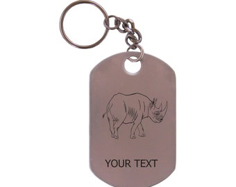 Personalized Engraved Rhino Stainless Steel Dog Tag Keychain