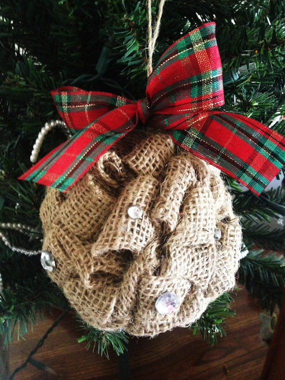 Items Similar To Burlap Ornament With Rhinestones Cute Holiday Decoration For Your Home And