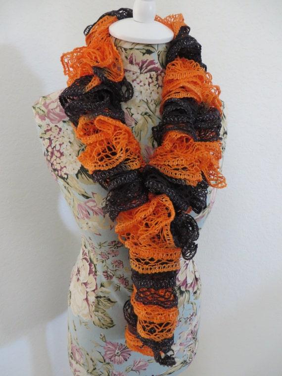 black orange ruffle scarf by craftycreationsbylb on etsy