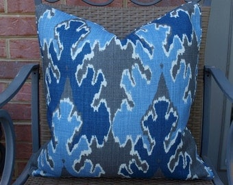 One or Both Sides - ONE Kelly Wearstler Bengal Bazaar Grey Indigo Pillow Cover with Seam Cording