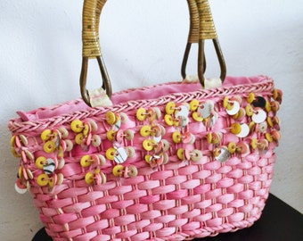 Pink Woven Wicker Purse, Tote Bag,beaded,sequin purse,summer purse,wood beads,sequin